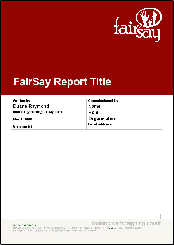 FairSay report title page — FairSay