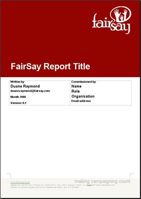 FairSay report title page