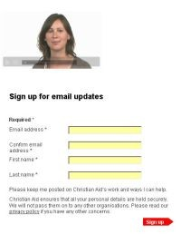 Christian Aid Week 2008 Signup page