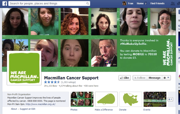 Macmillan Cancer Support Facebook page screenshot